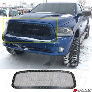 For Dodge Ram 1500 2013 14 15 16 17 Upper Black Wire Mesh Grille With Rivets