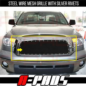 For Toyota Tundra 2007 2008 2009 Upper Black Steel Wire Mesh Grille With Rivets