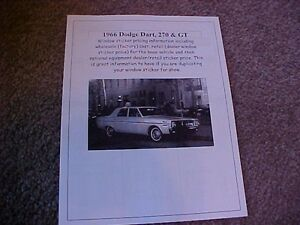 1966 Dodge Dart 270 Gt Factory Cost Dealer Sticker Prices For Car Options