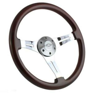 Mahogany Chrome Steering Wheel Kit Chevy Horn 1964 1965 Chevelle El Camino