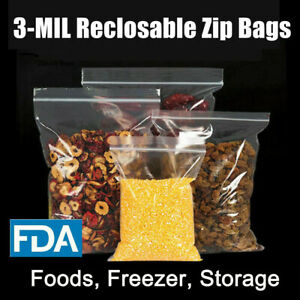 Ziplock 3ml Food Parts Storage Bags 3mil Clear Freezer Large Small Baggies