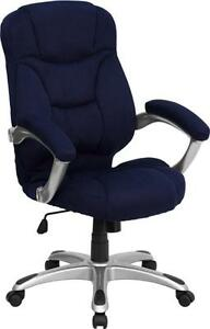 High Back Navy Blue Microfiber Upholstered Contemporary Office Chair New