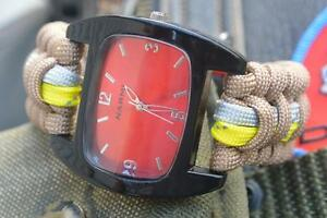 Extreme Brown Firefighter Fire Rescue Bunker Turnout Gear 550 Paracord Watch