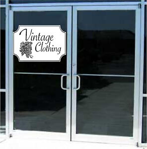 Vintage Clothing Business Sign Vinyl Decal Sticker Sign Window Door Glass