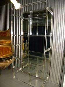 Vintage Lucite And Mirrors Modern Wall Unit Etagere Vitrine