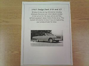 1967 Dodge Dart 270 Gt Factory Cost Dealer Sticker Prices For Car Options