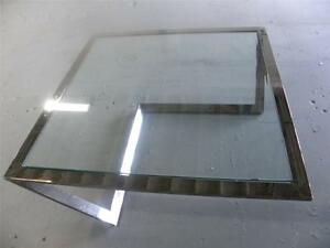 Architectural Design 1970 S Large Chrome Glass S Shape Coffee Table