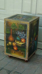 Early 20c Chinese Hand Painted Fruit Bottl Papiermache 4 Compartment Storage Box