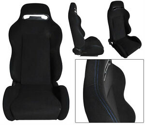New 1 Pair Black Cloth Blue Stitch Racing Seats All Ford