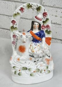 Antique Staffordshire Lady On Large Sheep In Pretty Arbor With Berries Leaves