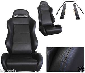 Pair Black Pvc Leather Blue Stitch Reclinable Racing Seats Fit Bmw Sliders