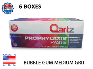 Qartz Prophy Paste Cups Bubble Gum Medium 200 box Dental W fluoride 6 Boxes