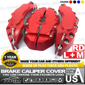 4x Brake Caliper Covers Universal Car Style Disc Red Front Rear Kits 10 5 Lw04