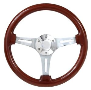 Real Wood Steering Wheel Chrome Plated Spokes Fits 1969 1994 Chevrolet