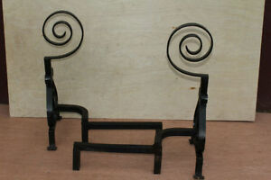 American Wrought Iron Firepalce Andirons With Scroll Finial Circa 19th