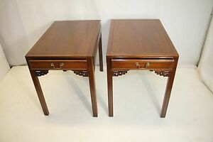 Pair Of American Chippendale End Side Tables W One Drawer C 1930