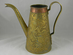 Stunning Antique Brass Copper Coffee Pot Merman Coat Of Arms Patientia Victrix