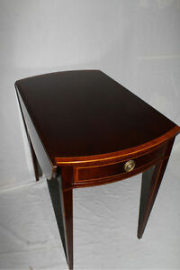 English Regency Mahogany Drop Leaf Side End Table With Banded Edge C 1920 S