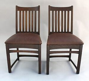 Pair 1910 Arts Crafts Mission Signed Chairs Antique Oak Craftsman Seat 7951