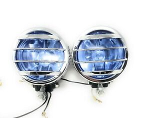 Universal 4 12v H3 Round Fog Lights Driving Lamps Harness Kit Truck Car Hid