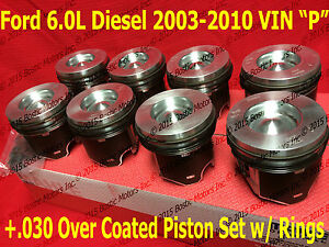 Ford 6 0 6 0l Diesel Pistons 030 03 10 Mahle Clevite Coated W Rings Set Of 8