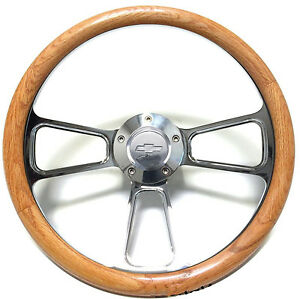 1968 1982 Corvette 14 Steering Wheel Kit Real Oak Billet With Chevy Horn