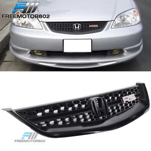 Fit 2001 2003 Honda Civic Rs Front Hood Bumper Mesh Grille Grill Black Jdm Style