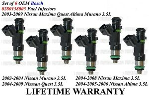 Set Of 6 Genuine Bosch Fuel Injectors For Nissan Quest Altima Maxima Murano 3 5l