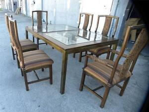 Mid Century Tomlinson Burl Walnut Brass Dining Set Table 6 Chairs