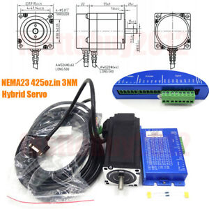 Nema23 425oz in 3nm Closed loop 57mm Stepper Motor Drive 3phase Hybrid Servo Dsp