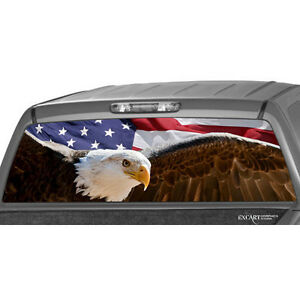 American Flag Bold Eagle Rear Window Graphic Decal Pickup Truck Suv Ford Chevy