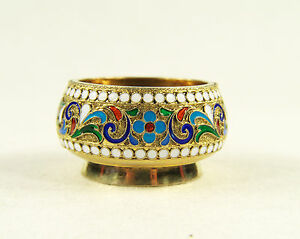 Antique Russian 84 Silver Enamel Salt Cellar