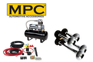Train Air Horn Kit Four Trumpets With 12 Volt Heavy Duty 150 Psi Compressor