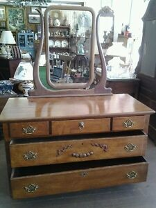 Antique Tiger Oak Dresser Chest 3 Drawers Over 2 Drawers W Beveled Glass Mirror