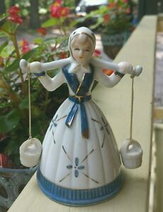 Vintage English Bisque Porcelain Lady Bell Handpainted Gold Trim Lovely Sound