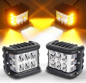 Side Shooter Led Pods Light 4 Inch Off Road Dual Side Yellow Drl Flash Strobe