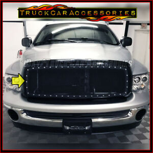 For Dodge Ram 1500 2002 2005 Upper Main Black Steel Mesh Overlay Grille Rivets