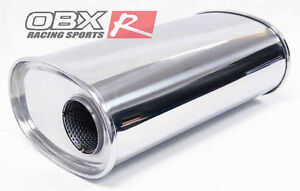Obx Universal Oval Muffler Side In Center Out Without Tip 2 5 Inlet Outlet