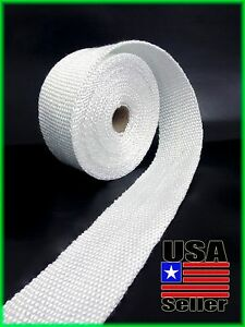 Exhaust Pipe Heat Header Wrap Insulation Thermal Tape Roll 2 X 25 Feet White