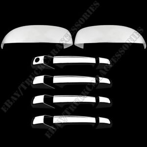 For Chevy Avalanche 2007 2013 Chrome Top Mirror Door Handle Cover w o Pskh