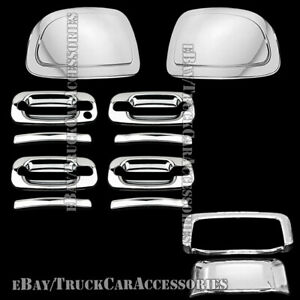 For Chevy Suburban 2002 2006 Chrome Mirror Cap Door Handle Tailgate Cover