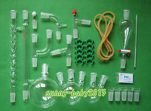 Lab Chemistry Glassware Kit With 24 40 Glass Ground Joint 29pcs free Shipping