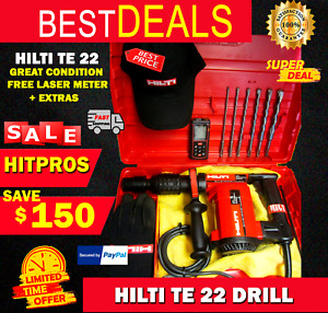 Hilti Te 22 Drill Great Condition Free Laser Meter Extras Fast Ship