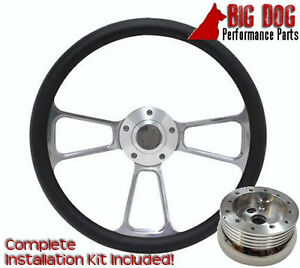 Billet Steering Wheel 14 With Black Vinyl For Ididit And Flaming River Columns