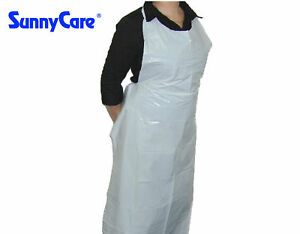 Sunnycare 46 X 28 Disposable Heavyweight White Poly Apron 1 7 Mil 100pcs