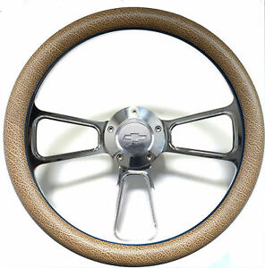 1960 1969 Chevy C10 C20 C30 Truck 14 Tan Snakeskin Billet Steering Wheel Kit