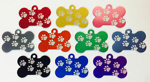 50 walking Paw Print Dog Bone Pet Id Tags Anodized Aluminum Laser Blank