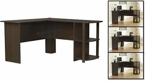 Perfect Office Computer Desk L shaped Corner Counter Table Shelves Storage Home