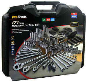 171pc Mechanic Mixed Tool Set Wrenches Sockets Ratchets Driver 1 4 3 8 1 2