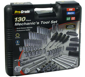 130pc Mechanic Mixed Tool Set Wrenches Sockets Ratchets Driver 1 4 3 8 Dr